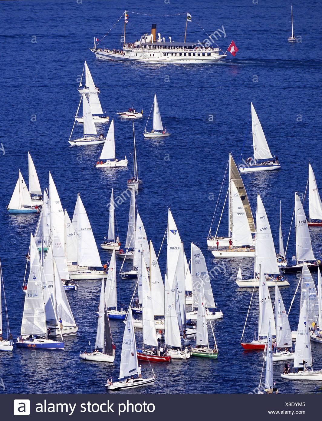 Lac de Genève les navires à voile regatta Bol dòr Lac Léman Lac Léman voiliers bateaux ship Suisse Europe Photo Stock
