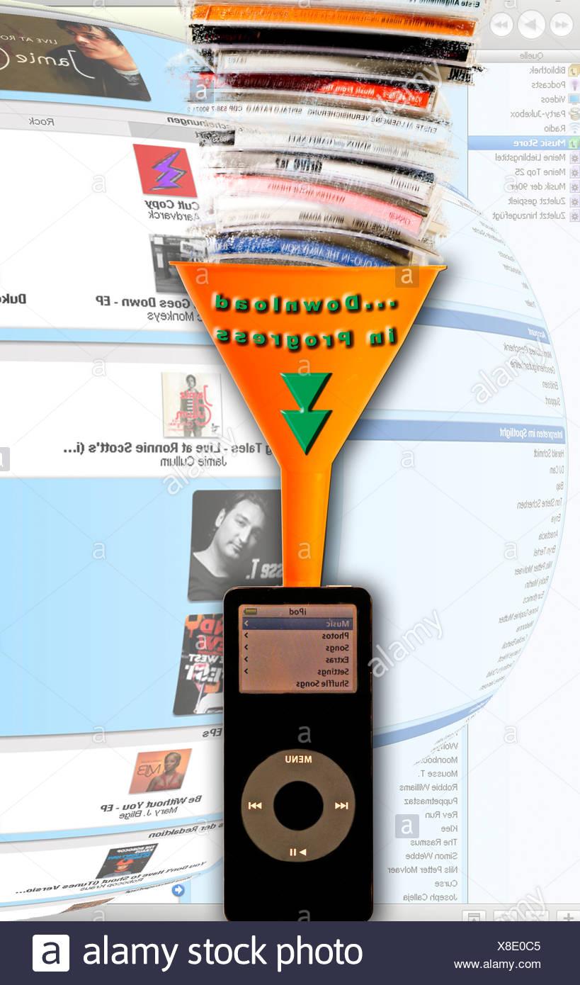 Pour télécharger de la musique sur l'Ipod. Photo Stock