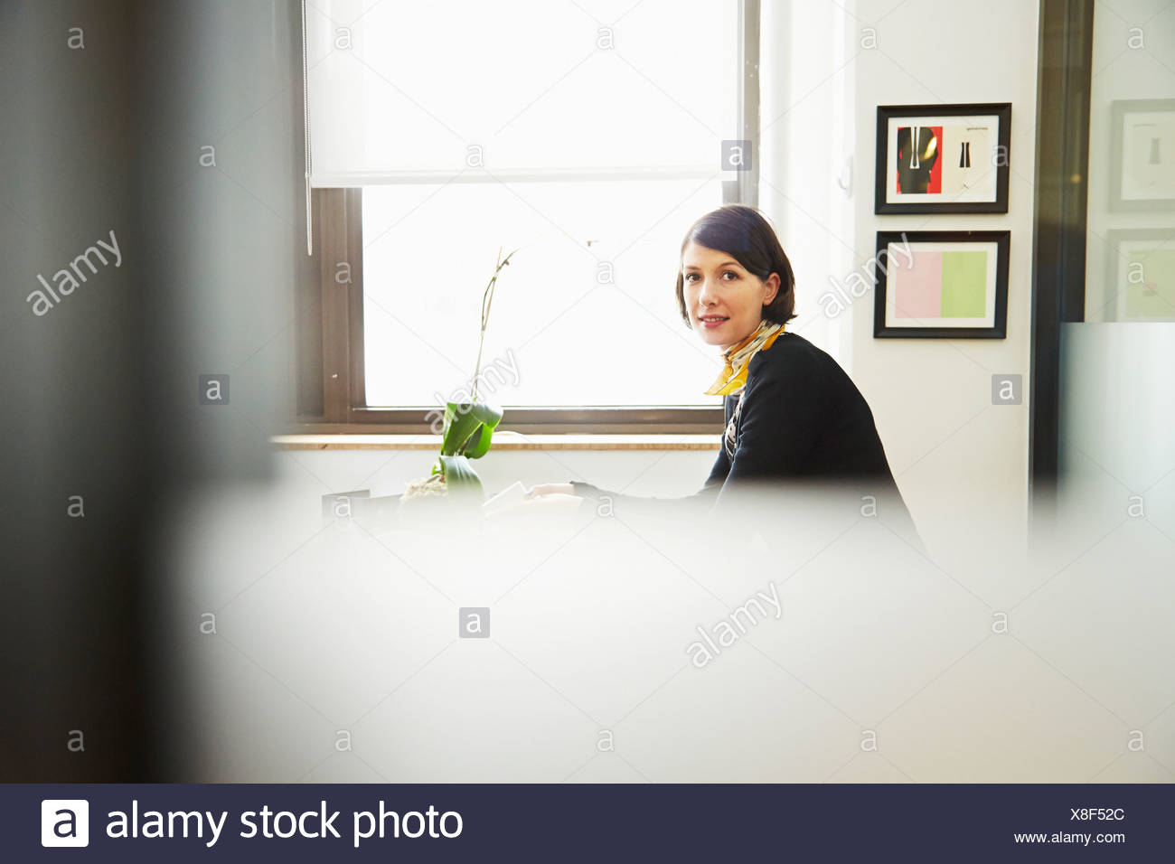 Businesswoman in office Photo Stock