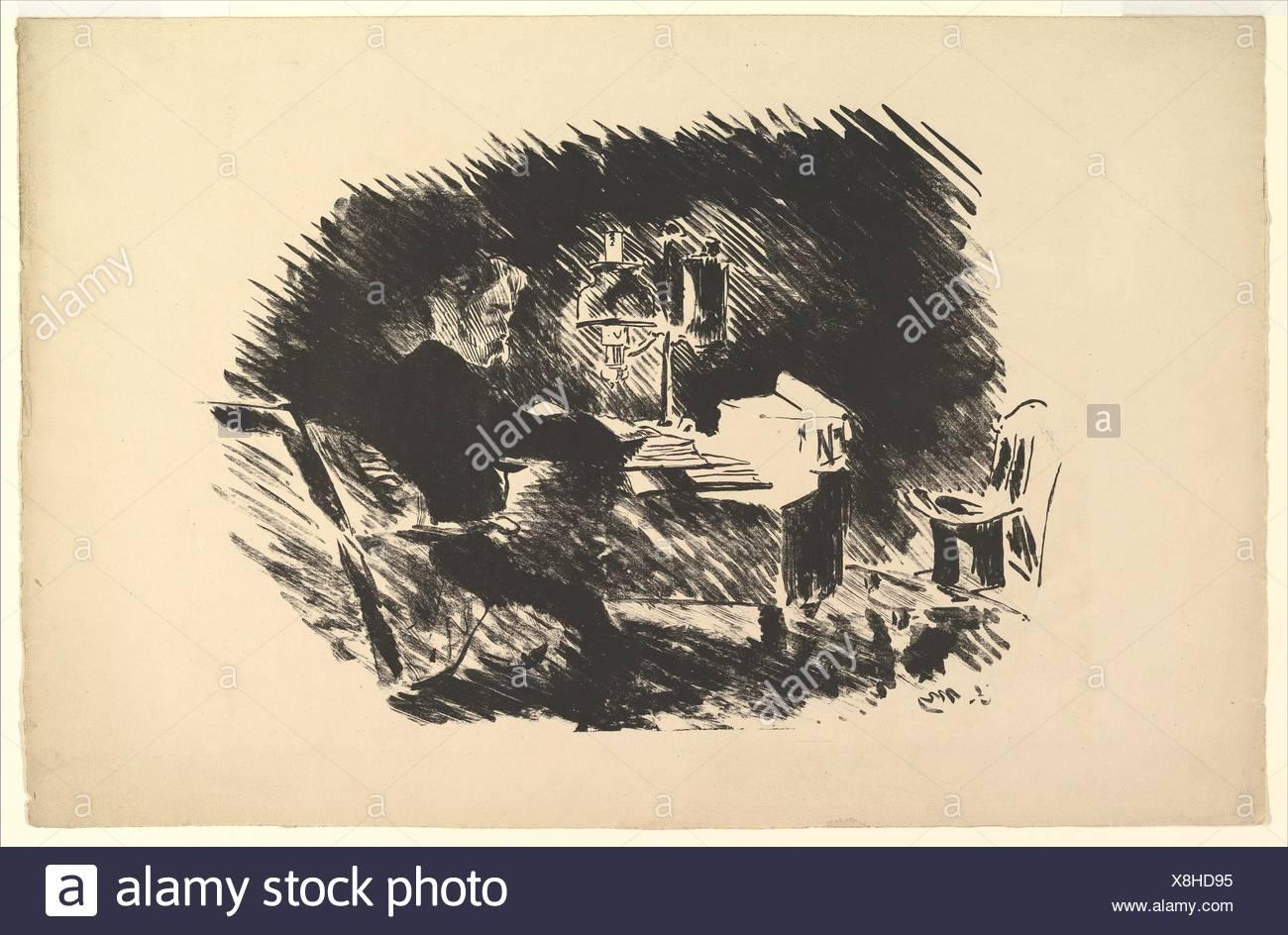 Une fois sur un morne minuit. Illustration pour le corbeau par Edgar Allan Poe. Series/portefeuille: le Corbeau; Artist: Édouard Manet (français, Paris Photo Stock