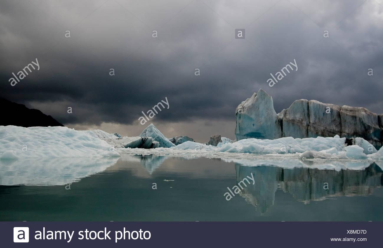 Vue de la glace dans la baie de bergs Résurrection Bear Glacier dans Kenai Fjords National Park, Alaska Photo Stock