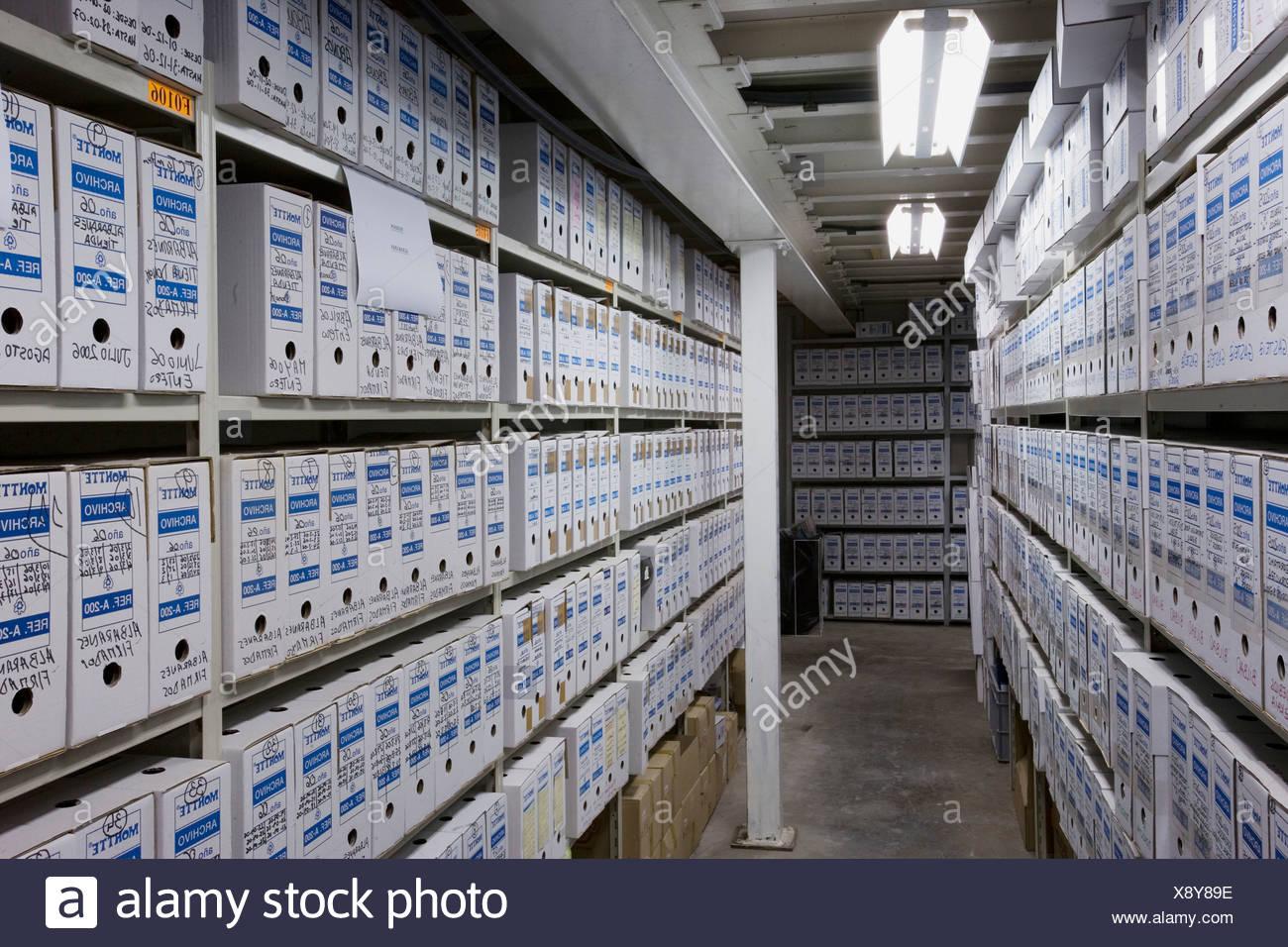 Salle des dossiers, l'archivage. Guipuzcoa, Pays Basque, Espagne Photo Stock