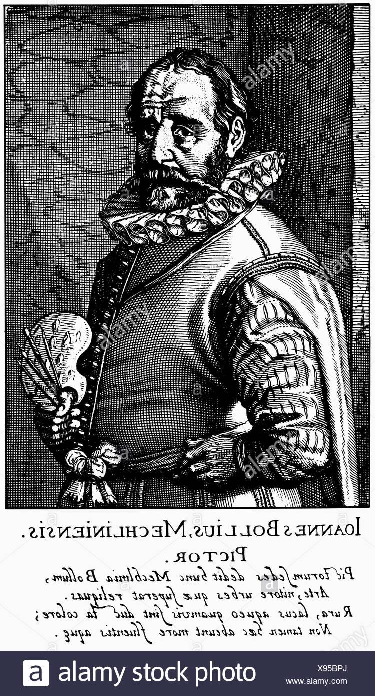 Bol, Hans, 1534 - 1593, peintre néerlandais, demi-longueur, gravure sur cuivre de 'Schilder-Boeck' par Karel van Mander, 1617, , Additional-Rights-Jeux-NA Photo Stock