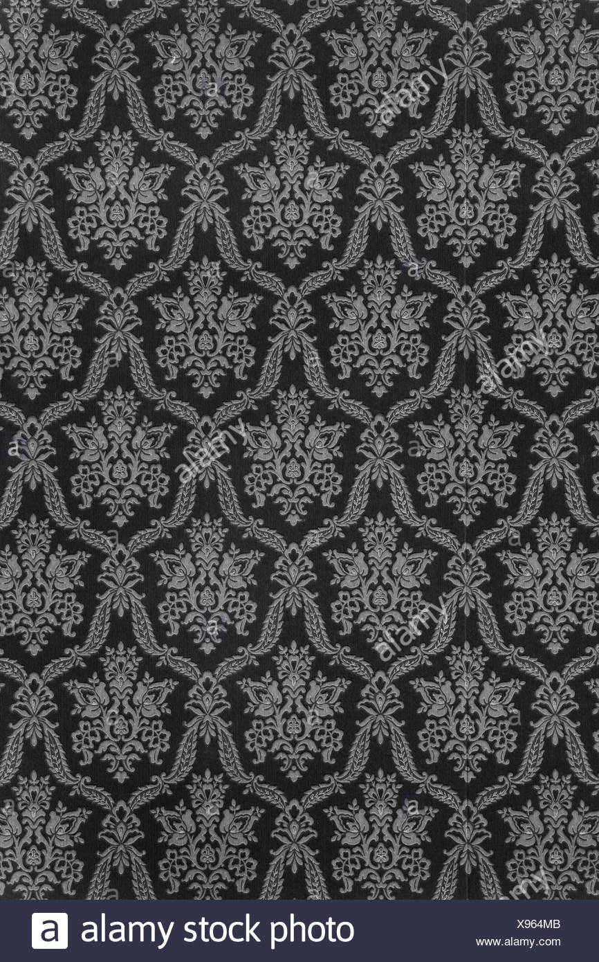 Vieux Papier Peint A Motif Baroque En Ancien Anthracite En Noir Et