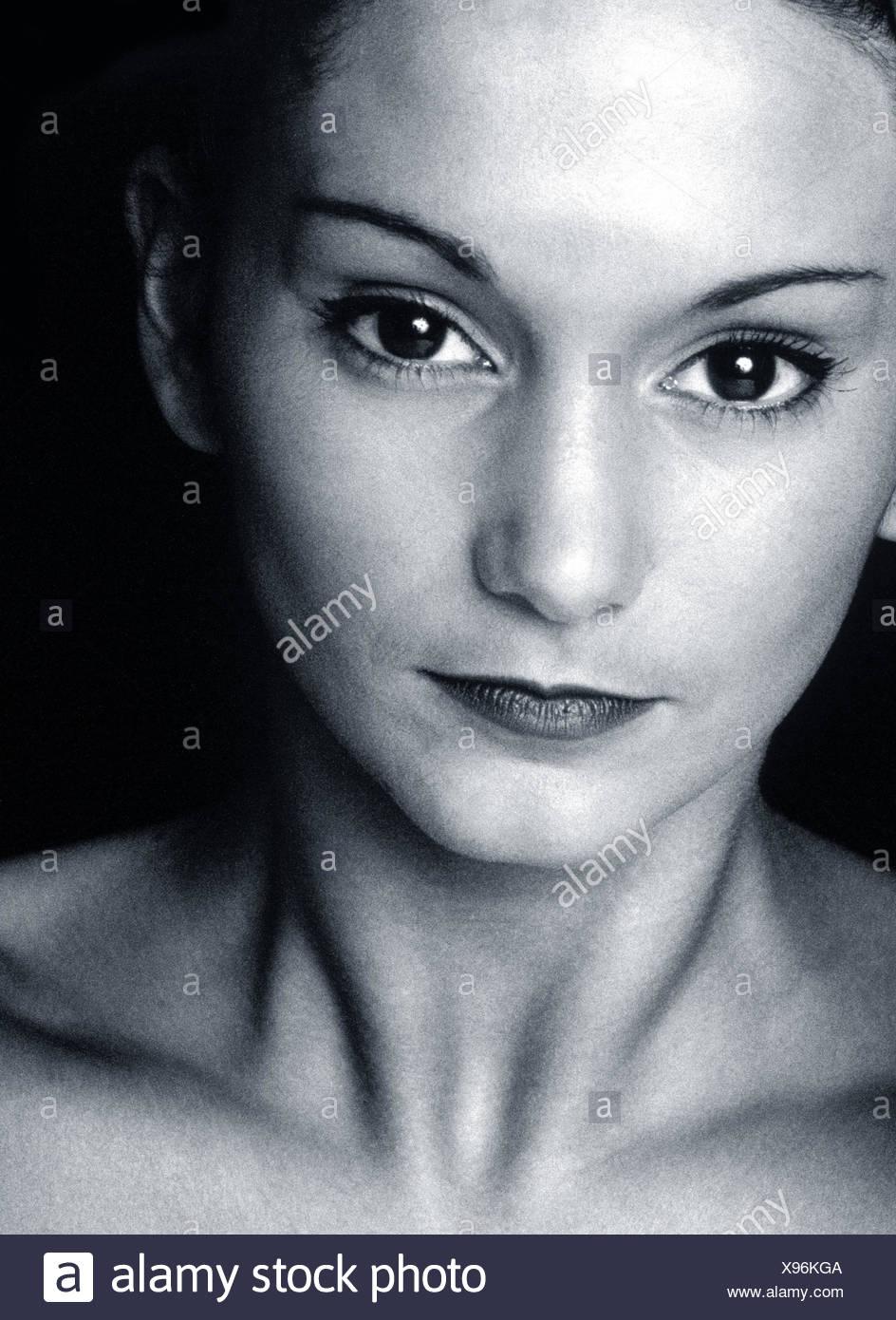 Femme, jeune, portrait, b/w, Photo Stock