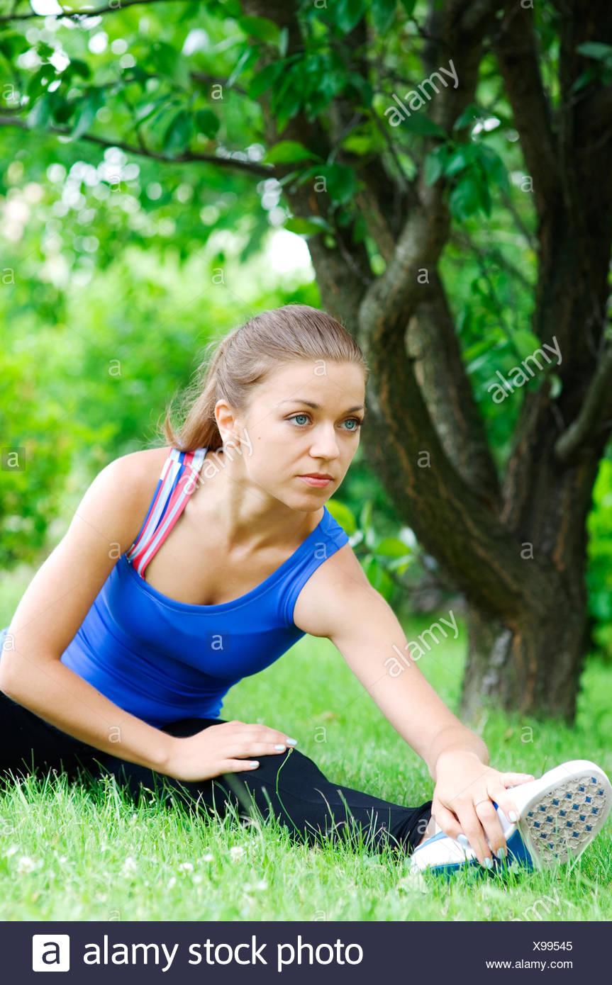 Préparation pour le jogging Debica, Pologne Photo Stock