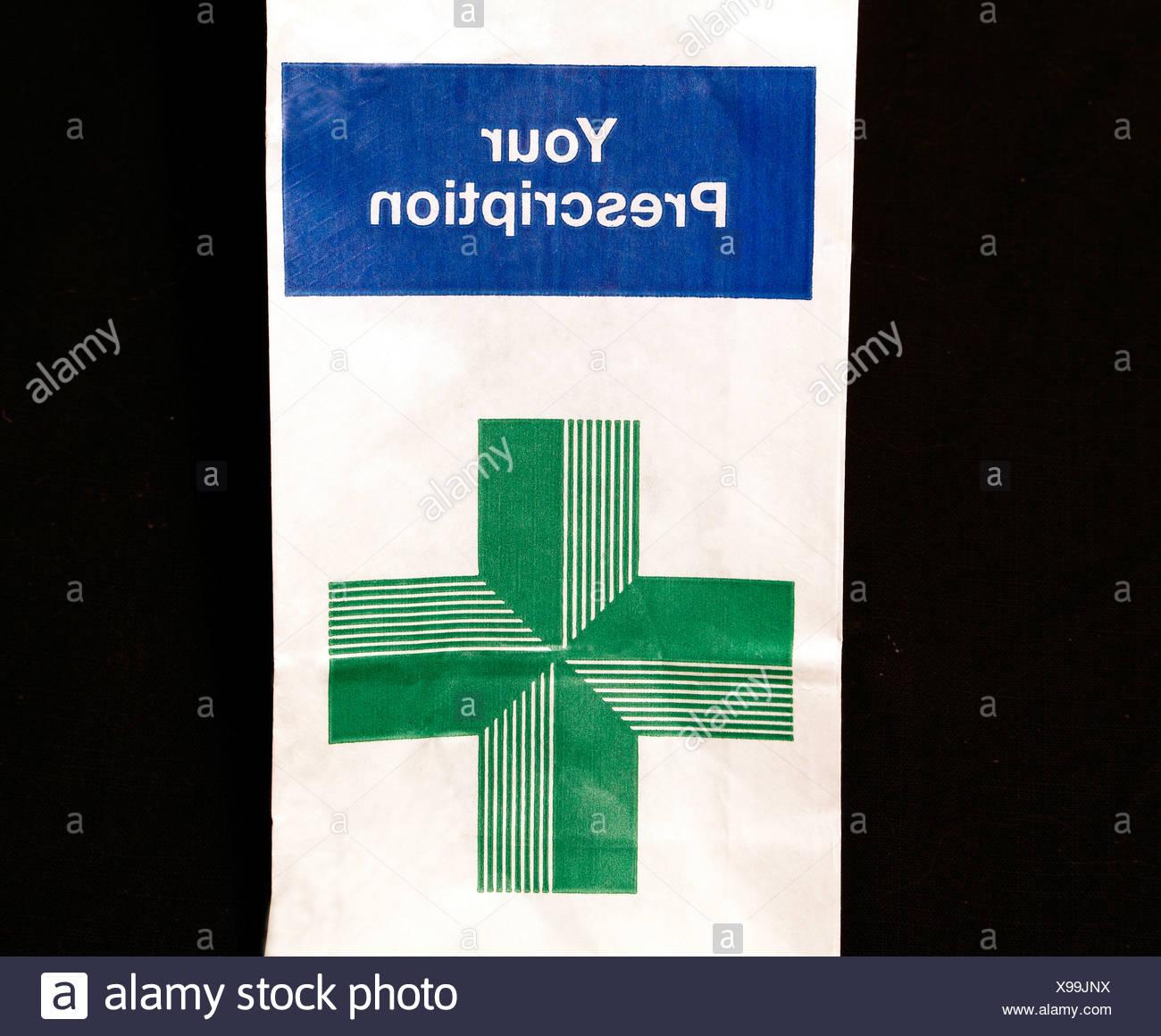 N H S sac d'ordonnance, l'ordonnance, Service National de Santé, médecine Photo Stock
