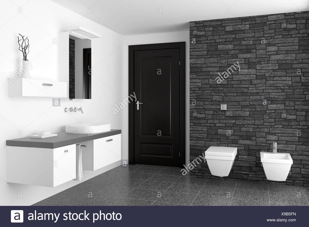 Salle de bains moderne avec des murs en pierre noire Banque D\'Images ...