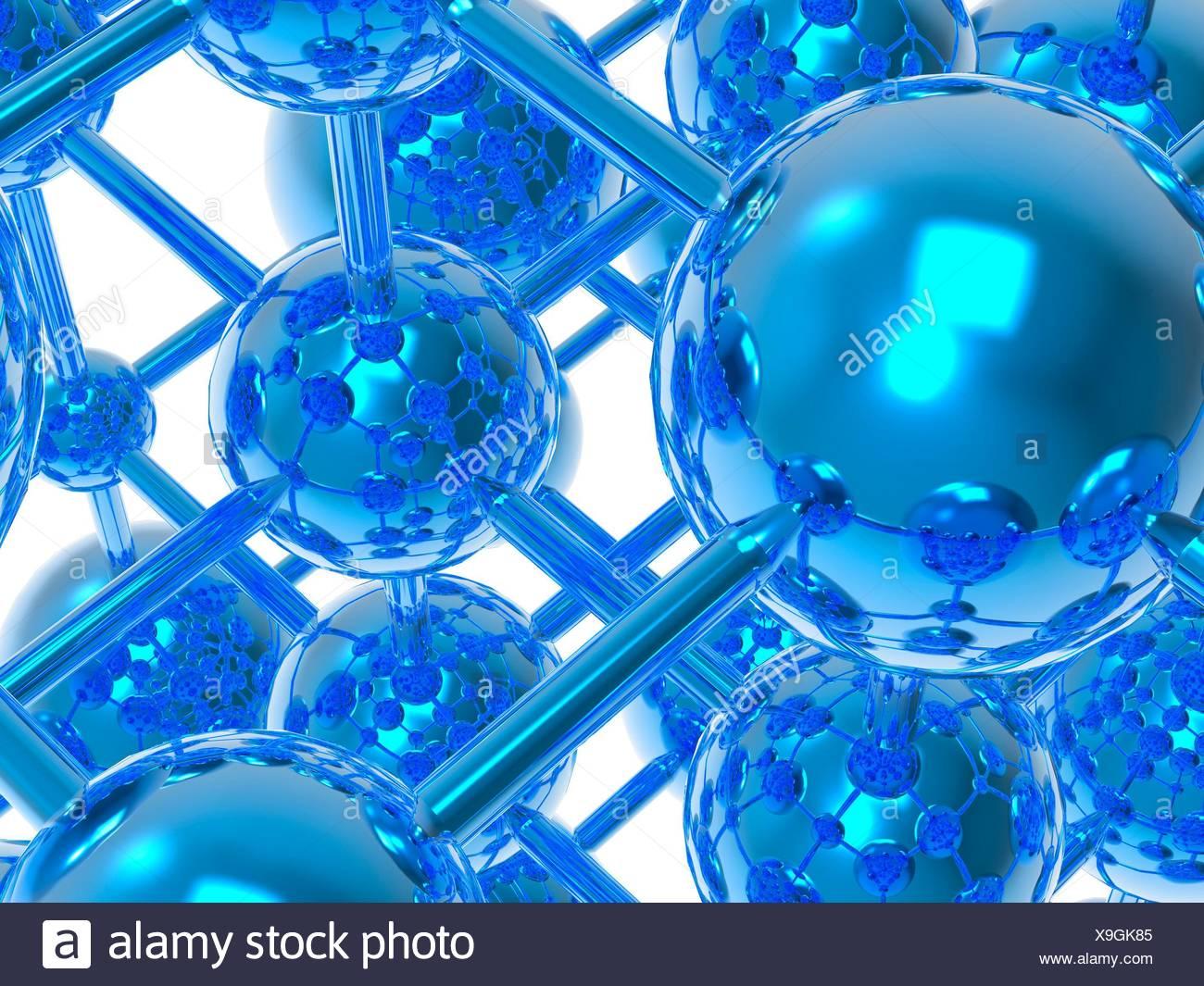 Molécule générique, l'oeuvre de l'ordinateur. Photo Stock