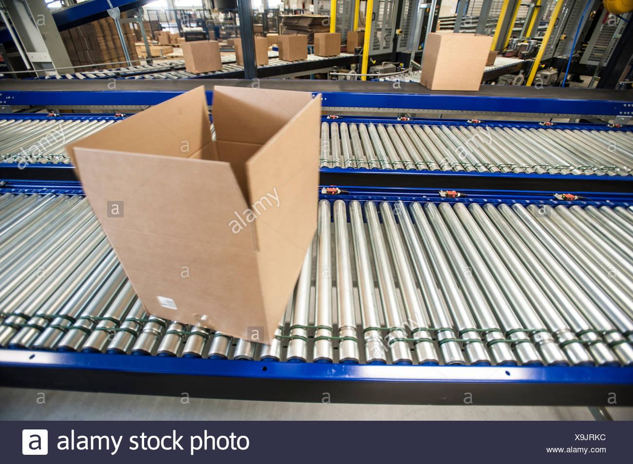 Boîte vide sur la courroie du convoyeur en mouvement Photo Stock