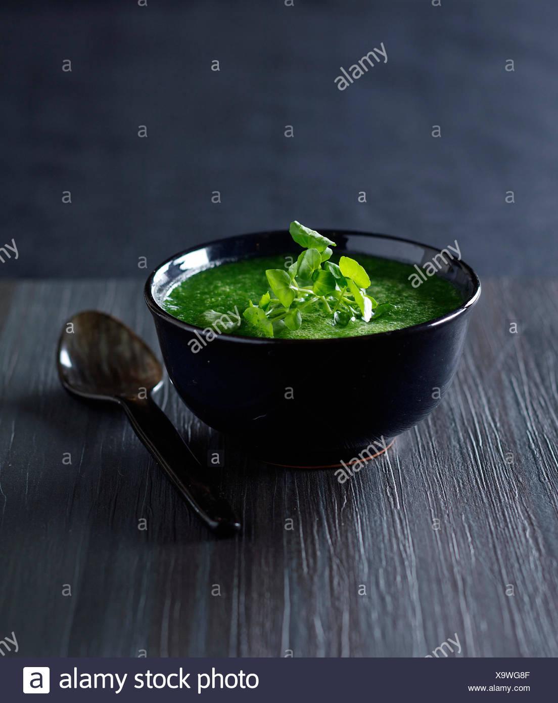 Soupe crème de cresson Photo Stock