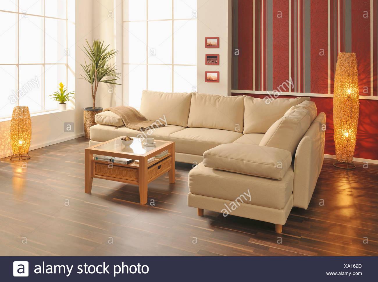 Vue sur salon moderne avec plancher en bois Photo Stock