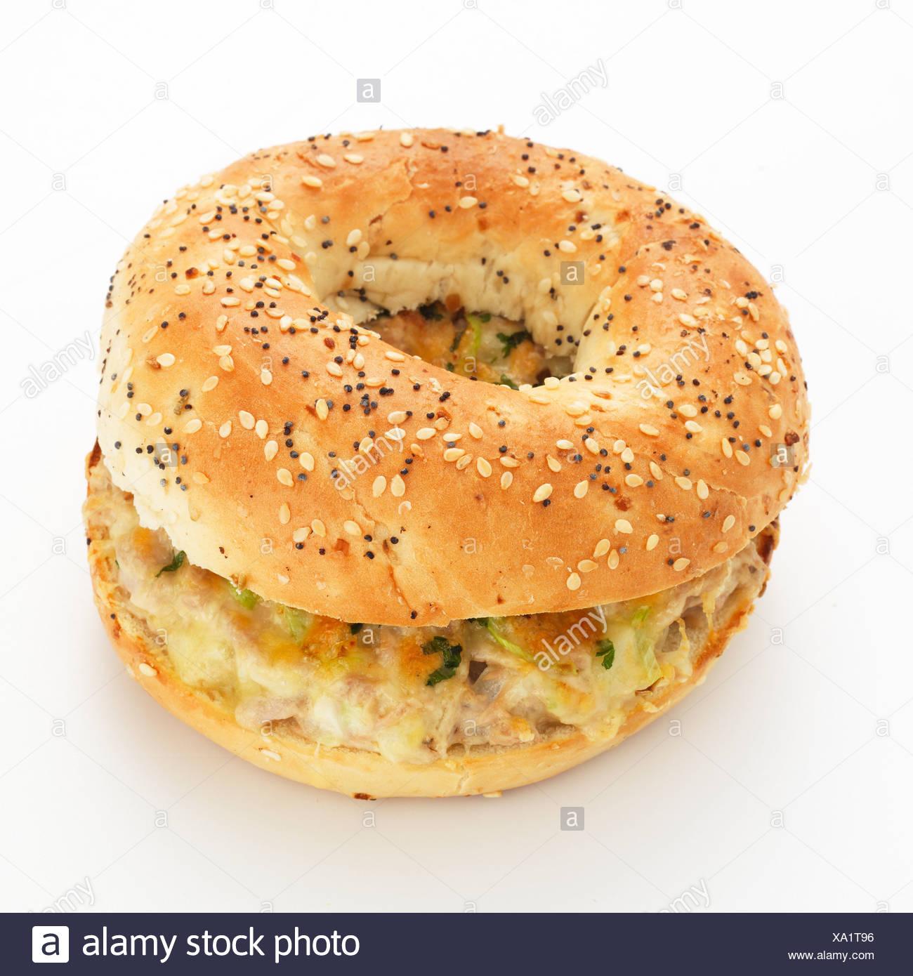 Tuna melt bagel Banque D'Images