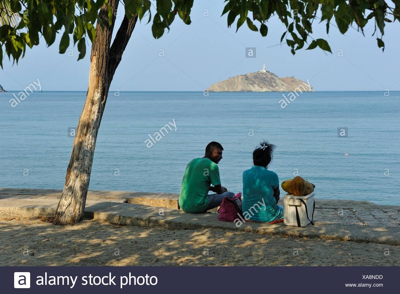 Promenade du bord de mer de Santa Marta, département du Magdalena, région des Caraïbes, la Colombie, l'Amérique du Sud. Banque D'Images