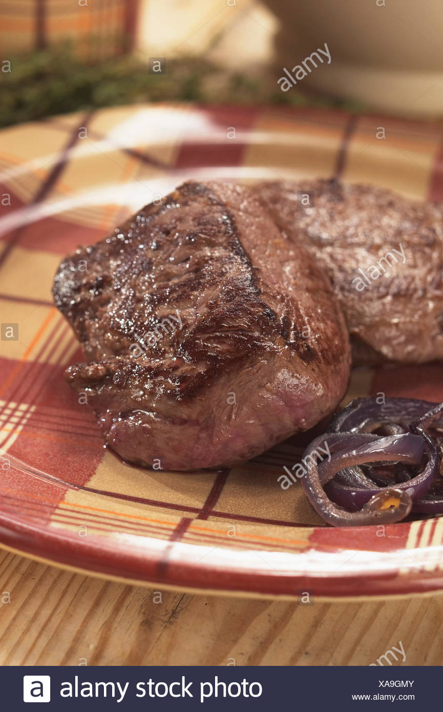 Morceau de steak cuit Photo Stock