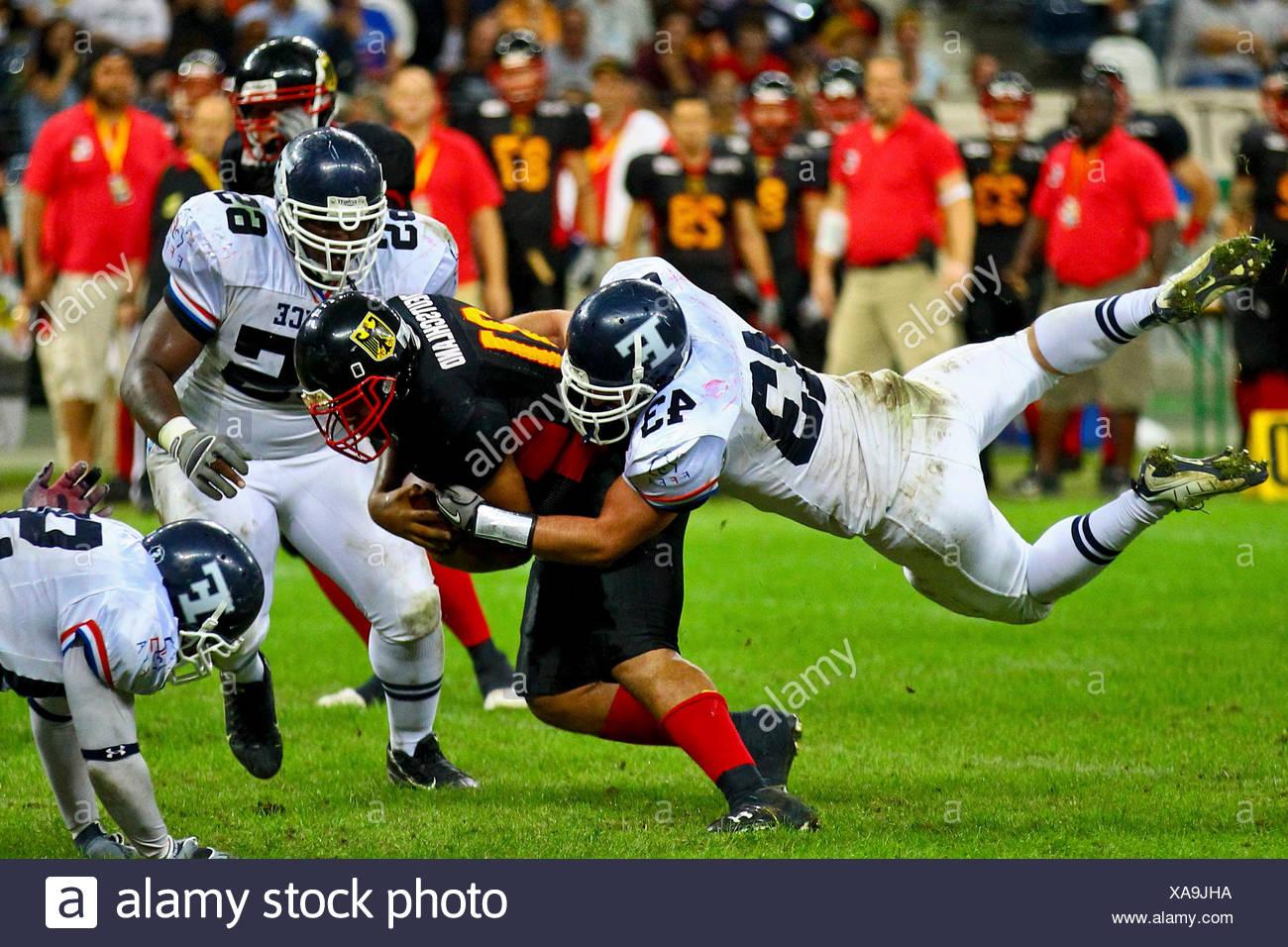American Football, championnat d'Europe 2010, l'Allemagne et la France dans la Grande Finale de la Commerzbank Arena, Francfort, la Hesse Photo Stock