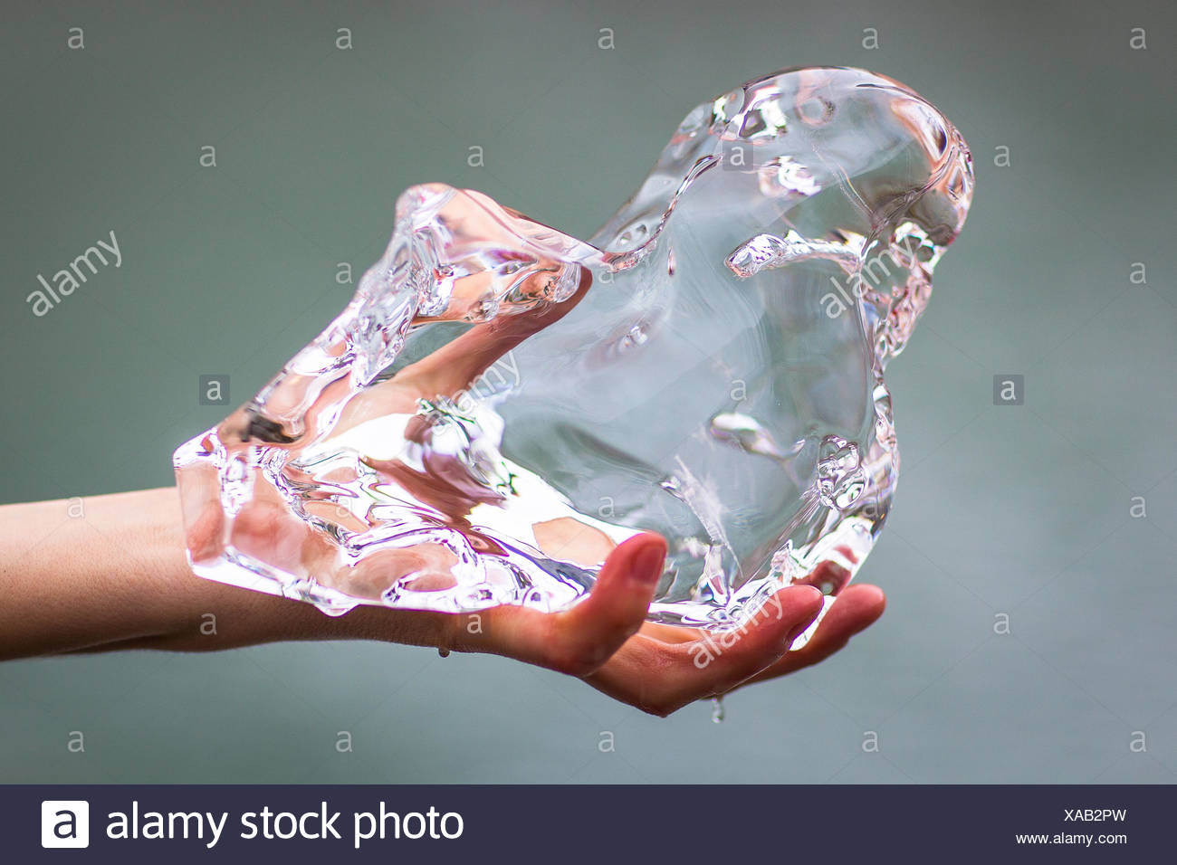 Cropped Hand Holding Ice Photo Stock