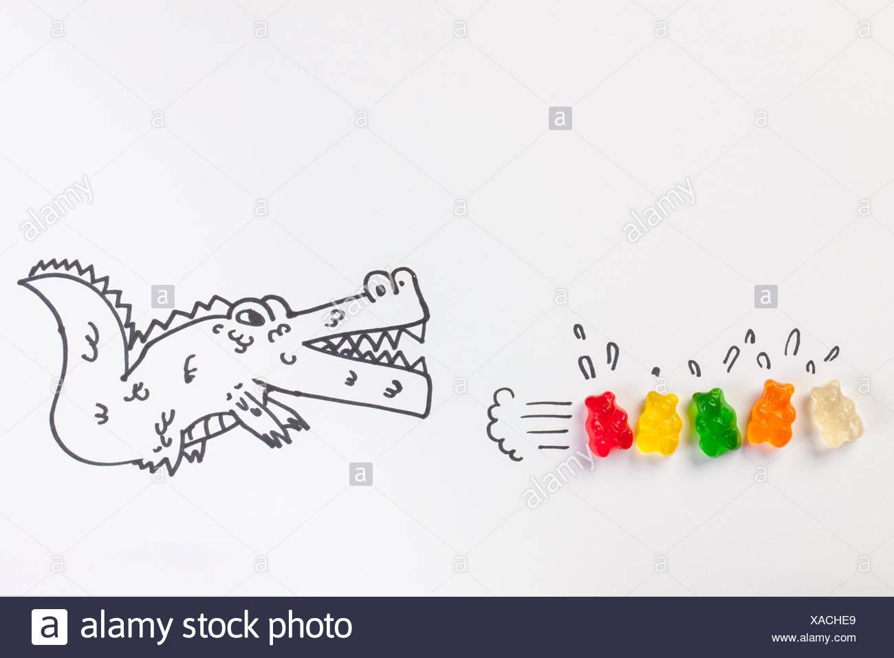Illustration de alligator menaçant les petits animaux Photo Stock
