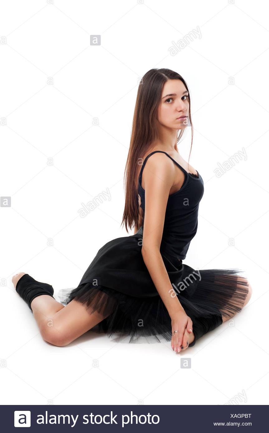 Brun Femme Robe Noire Avec Beaux En Longs Ballerine De Sain Cheveux zxPwOy