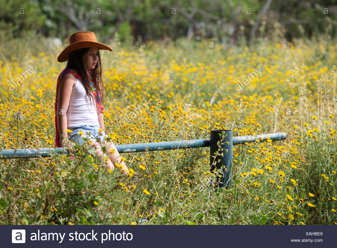 Sullen girl in cowboy hat sitting on fence in field Photo Stock