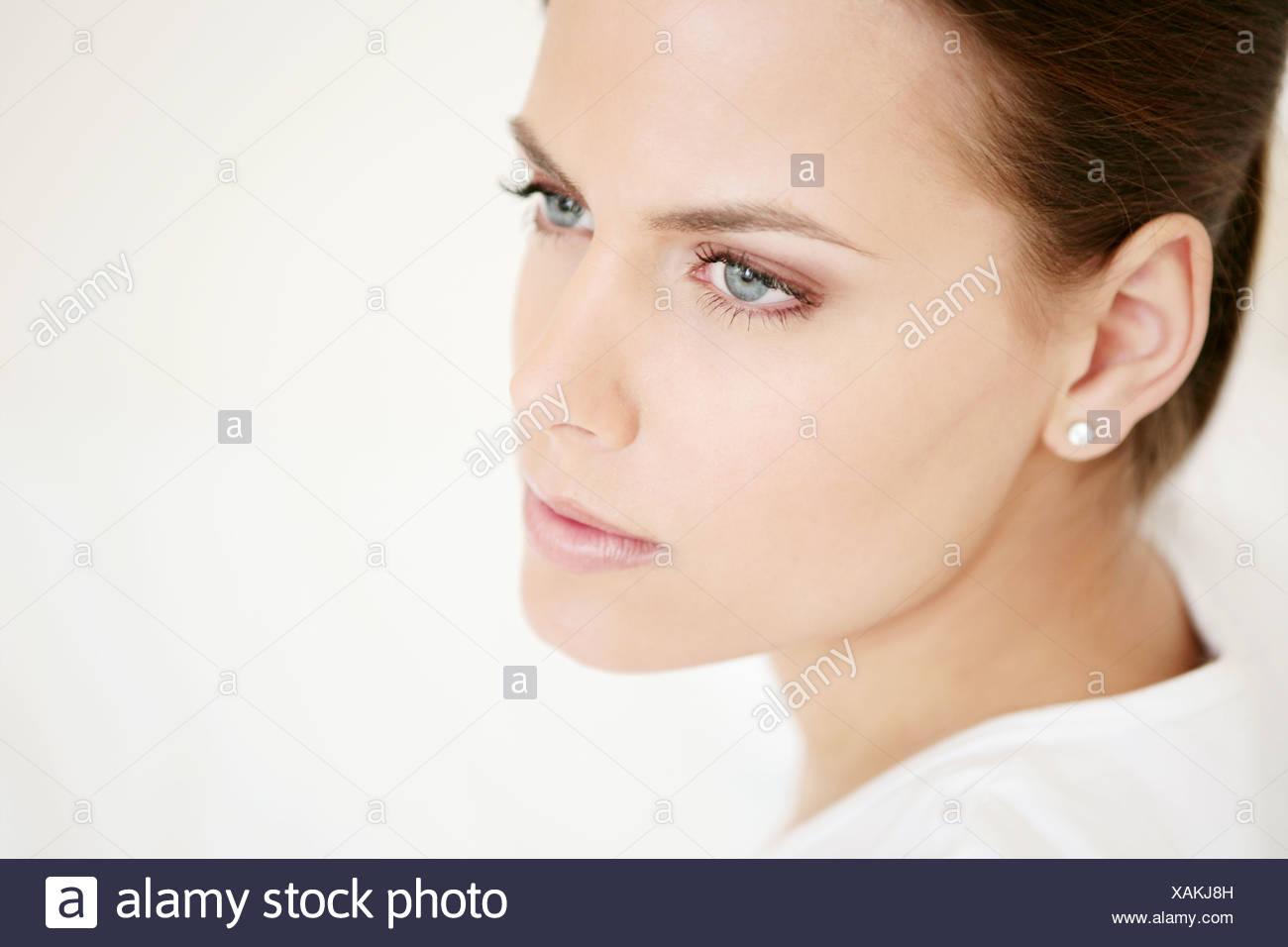 Visage, jeune, femme, vitalité, frais, composent, modèle, adulte, femme, tête, beauté, 20-25 ans, 18-19 ans, belle, bien-être, Photo Stock