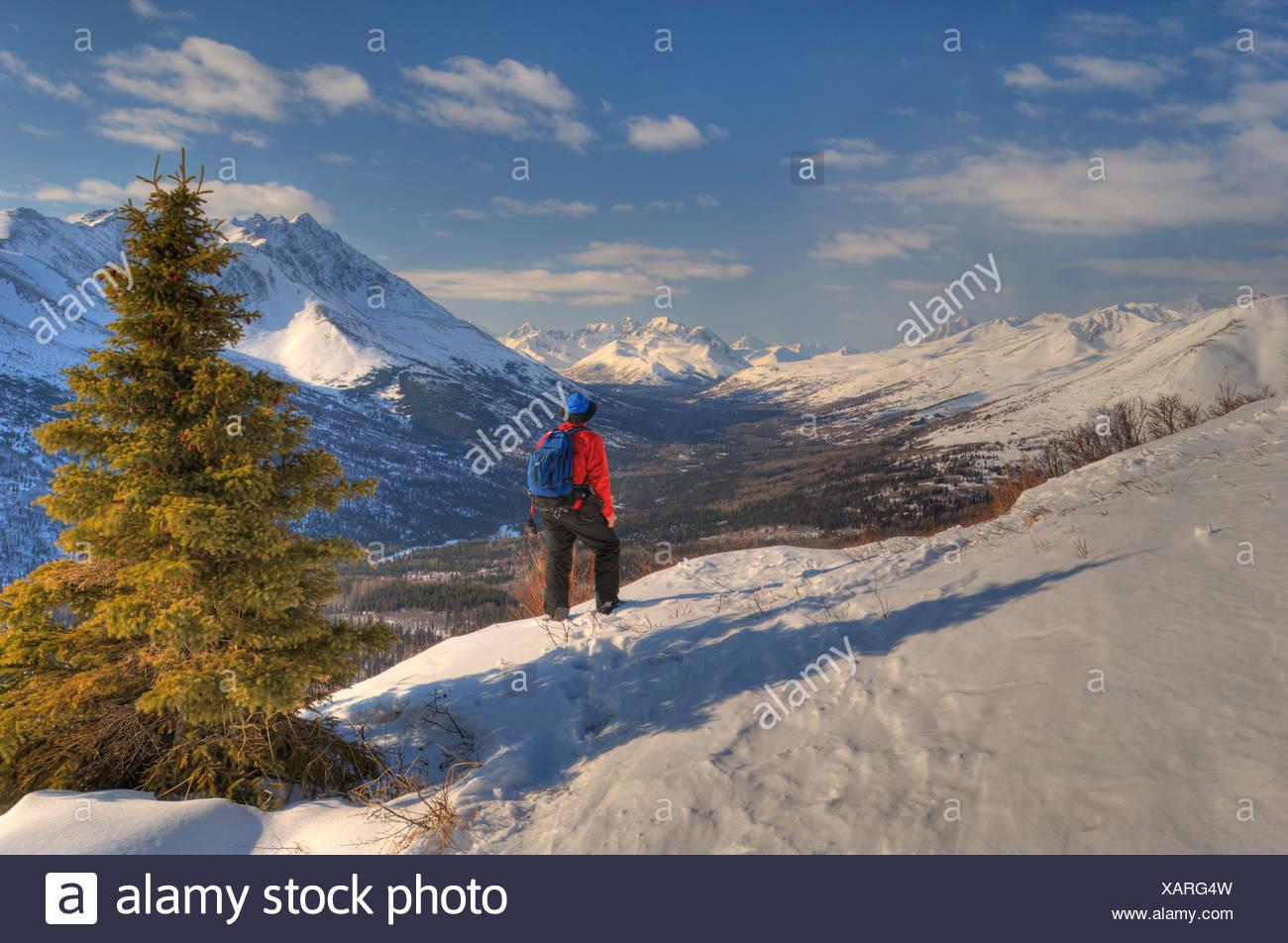 L'homme de la raquette au-dessus de la vallée de l'Arctique avec Chugach montagnes en arrière-plan, Southcentral Alaska Photo Stock