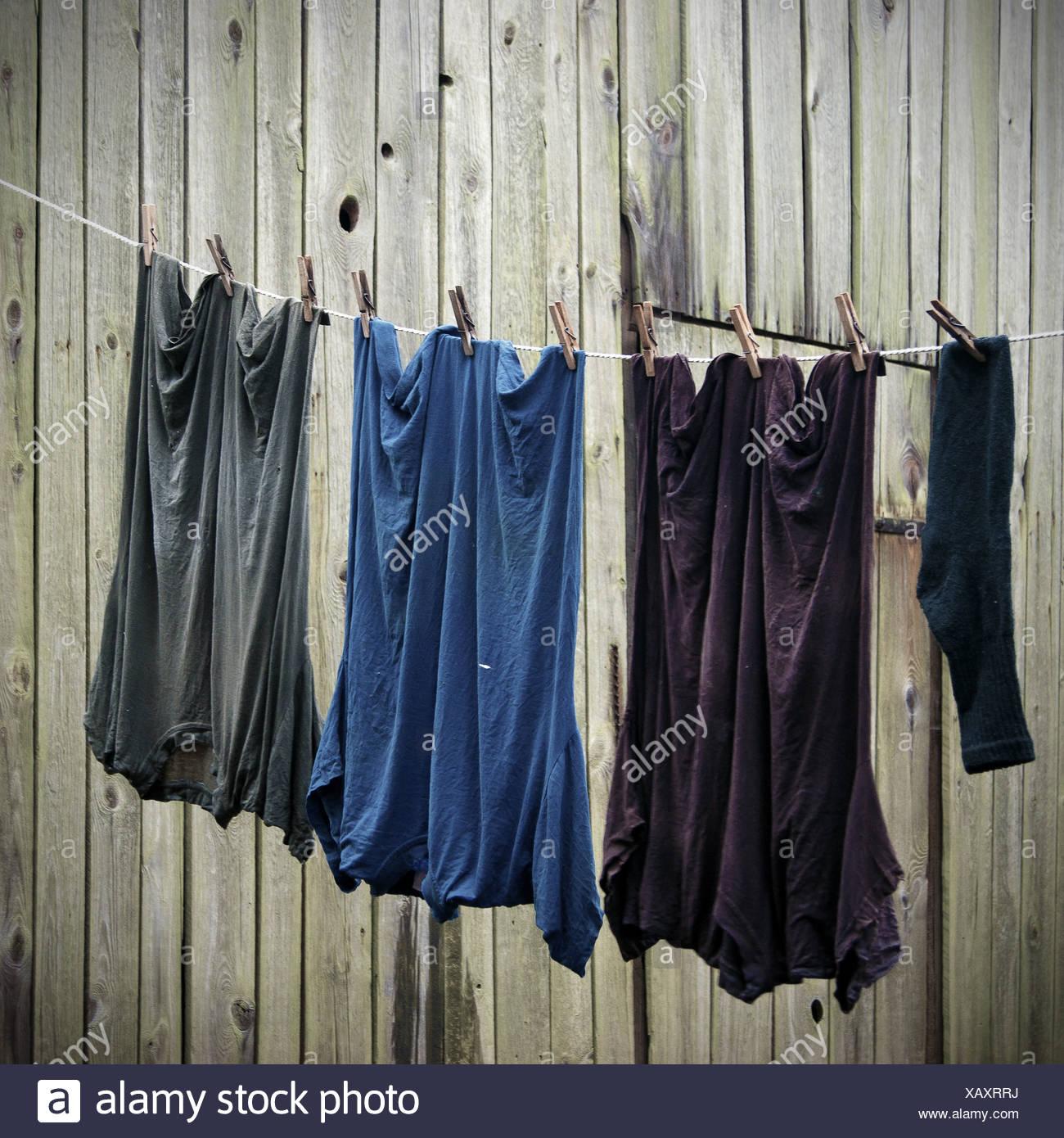 Corde à linge, blanchisserie, séchage à façon Photo Stock
