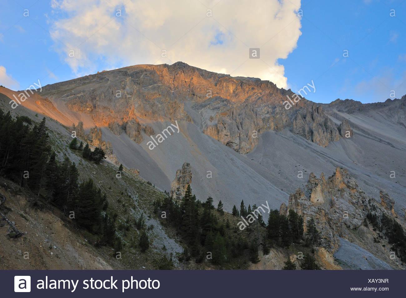 Alpes, France, l'érosion, coucher de soleil, les intempéries, les montagnes, le coucher du soleil, l'Europe, Photo Stock