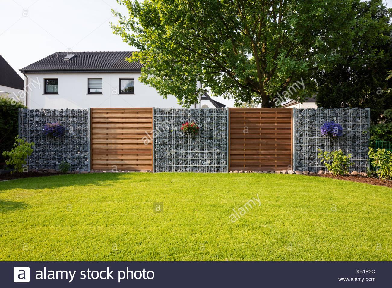 Pelouse, clôture la vie privée, chambre jardin, Rhénanie du Nord ...