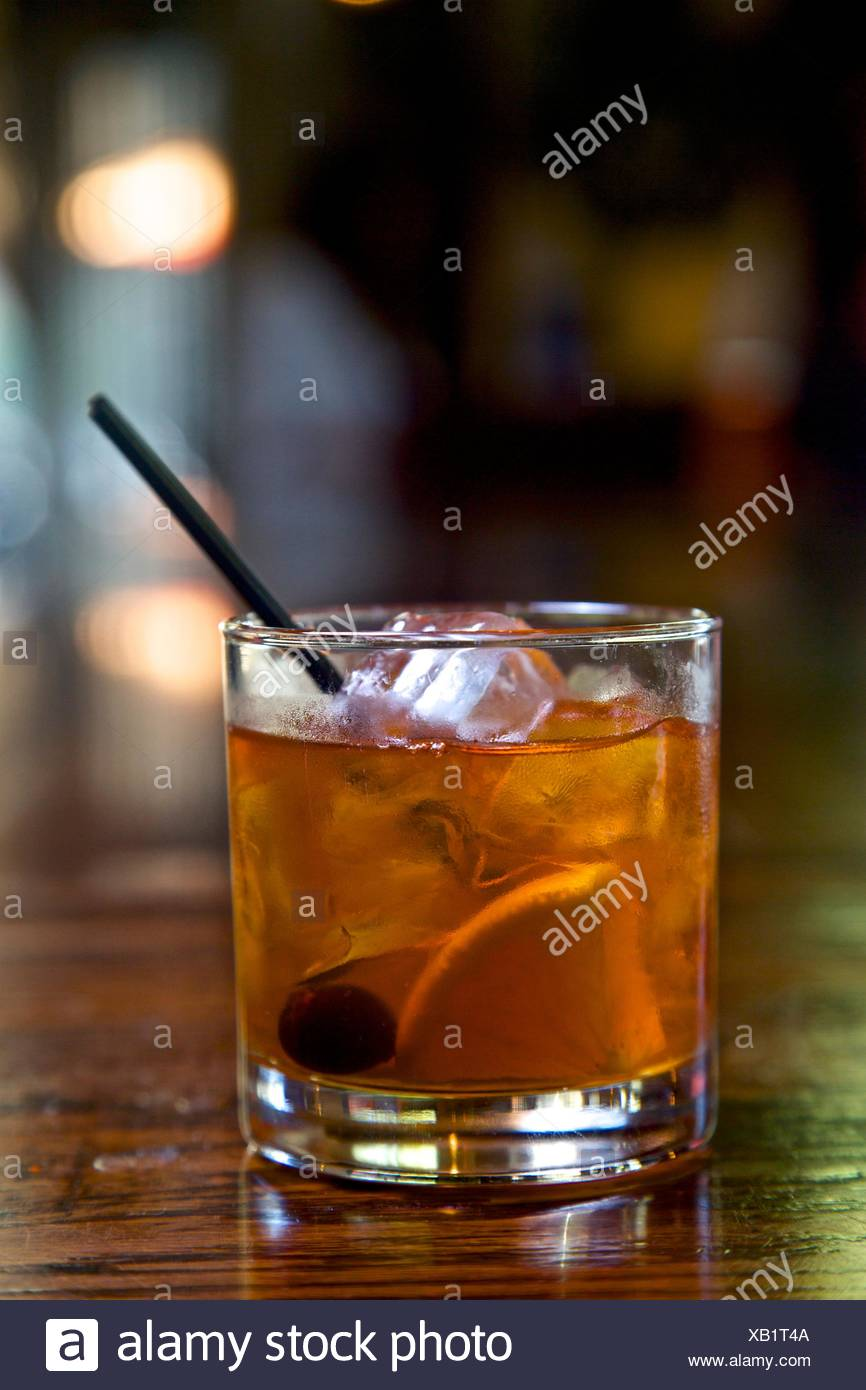 Old Fashioned cocktail, close-up Photo Stock