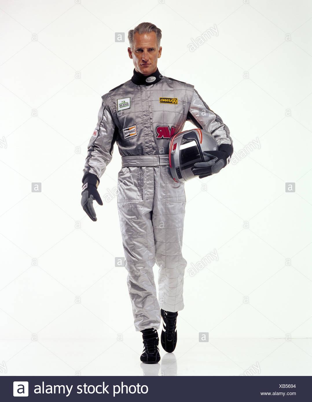 Le sport automobile, pilote de course, dans l'ensemble, casque, argent, motion, go sport, sport de course, l'homme, combinaison de course, casque, casque de sécurité, casque, gants, studio, head-on, Photo Stock