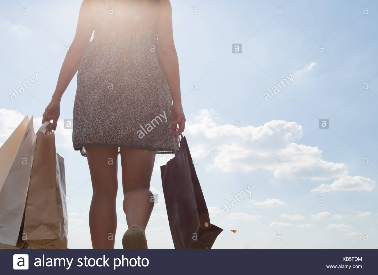 Mid section of woman carrying shopping bags Photo Stock