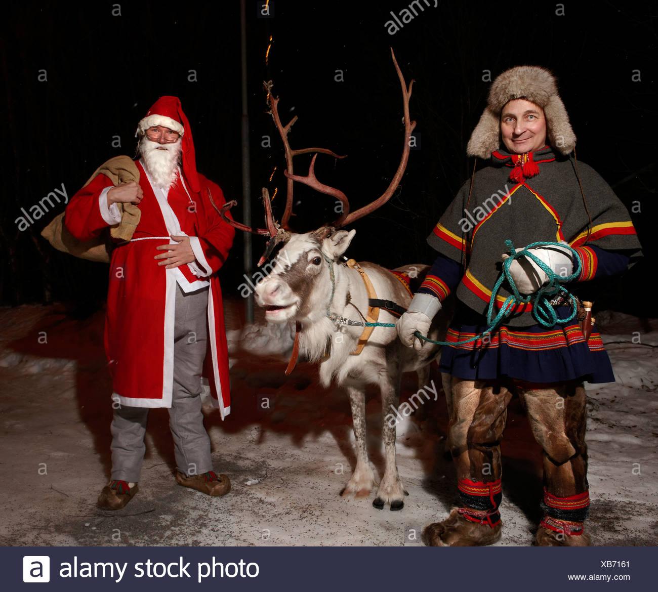 Le Père Noël et les rennes, Jukkasjarvi, Kiruna, Suède Banque D'Images