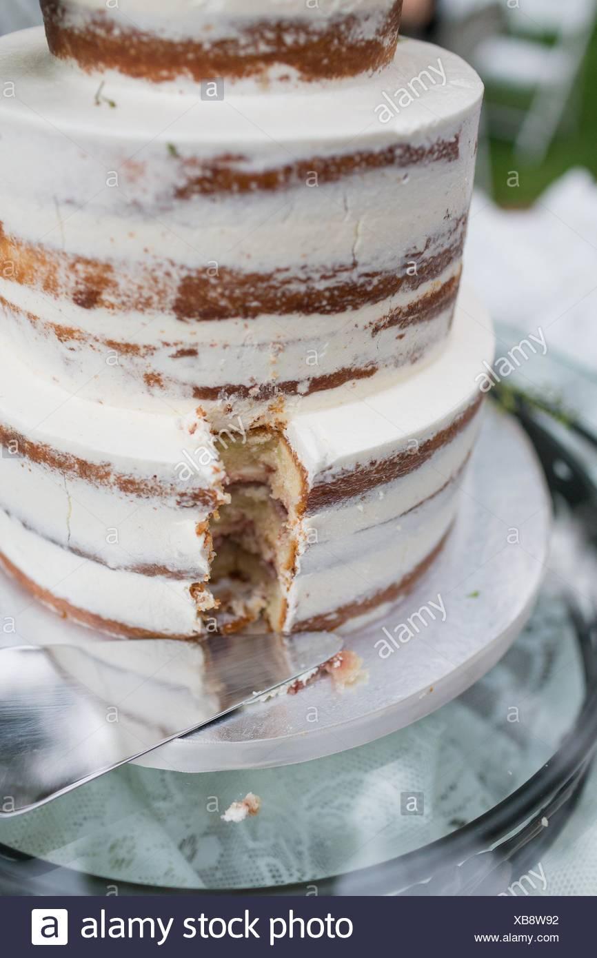 Gâteau de mariage élégant à une réception en plein air dans l'Oregon. Photo Stock