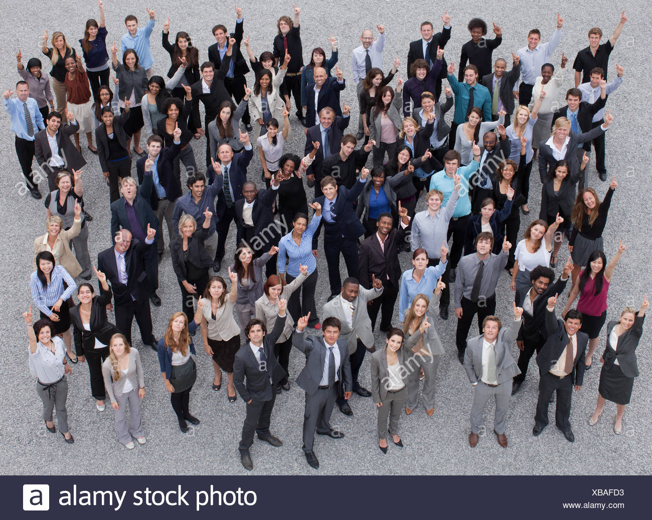 Portrait of smiling and gesturing foule Photo Stock