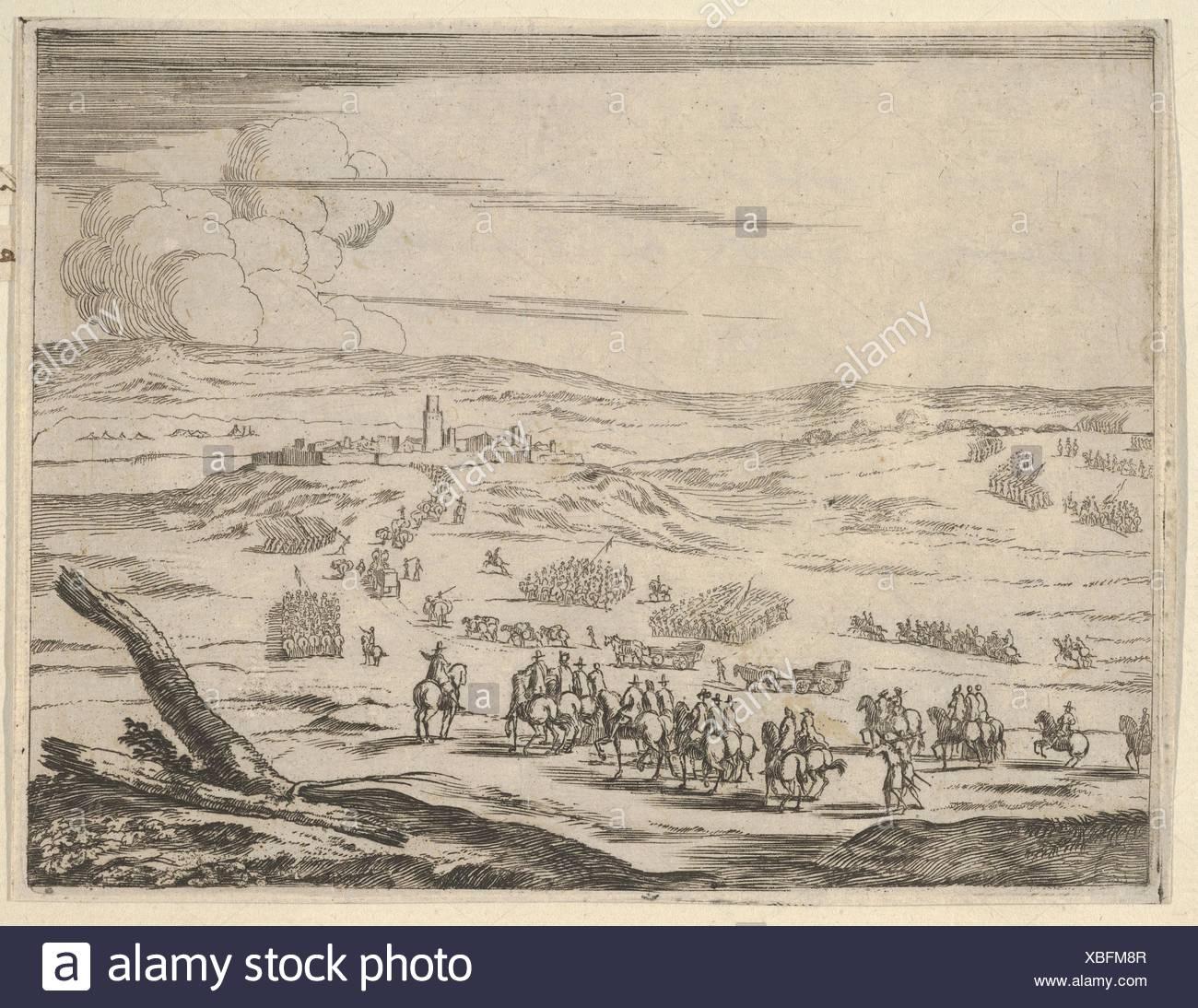 Malgré l'opposition de l'Corageous Allemands et les Espagnols, Francesco I d'Este, à la tête de ses armées, arrive à la place d'Valeneza, Photo Stock