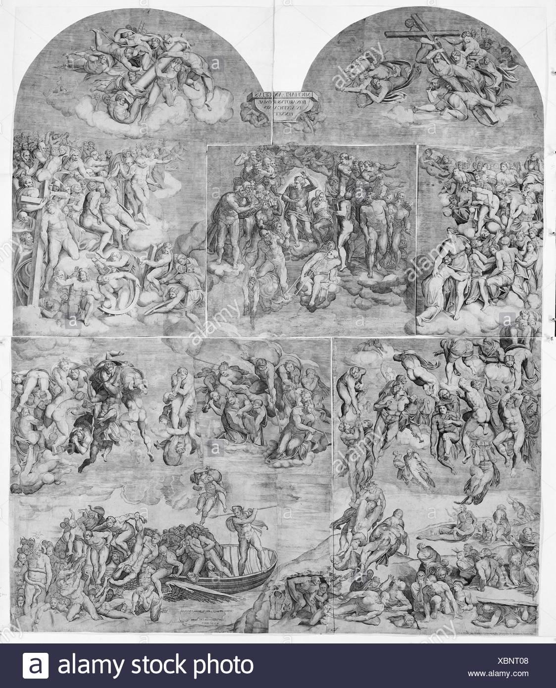 La Résurrection des Morts (partie inférieure gauche du Jugement dernier). Artiste: gravée par Niccolò della Casa (français, actif en Italie, ca. 1543-48); Photo Stock