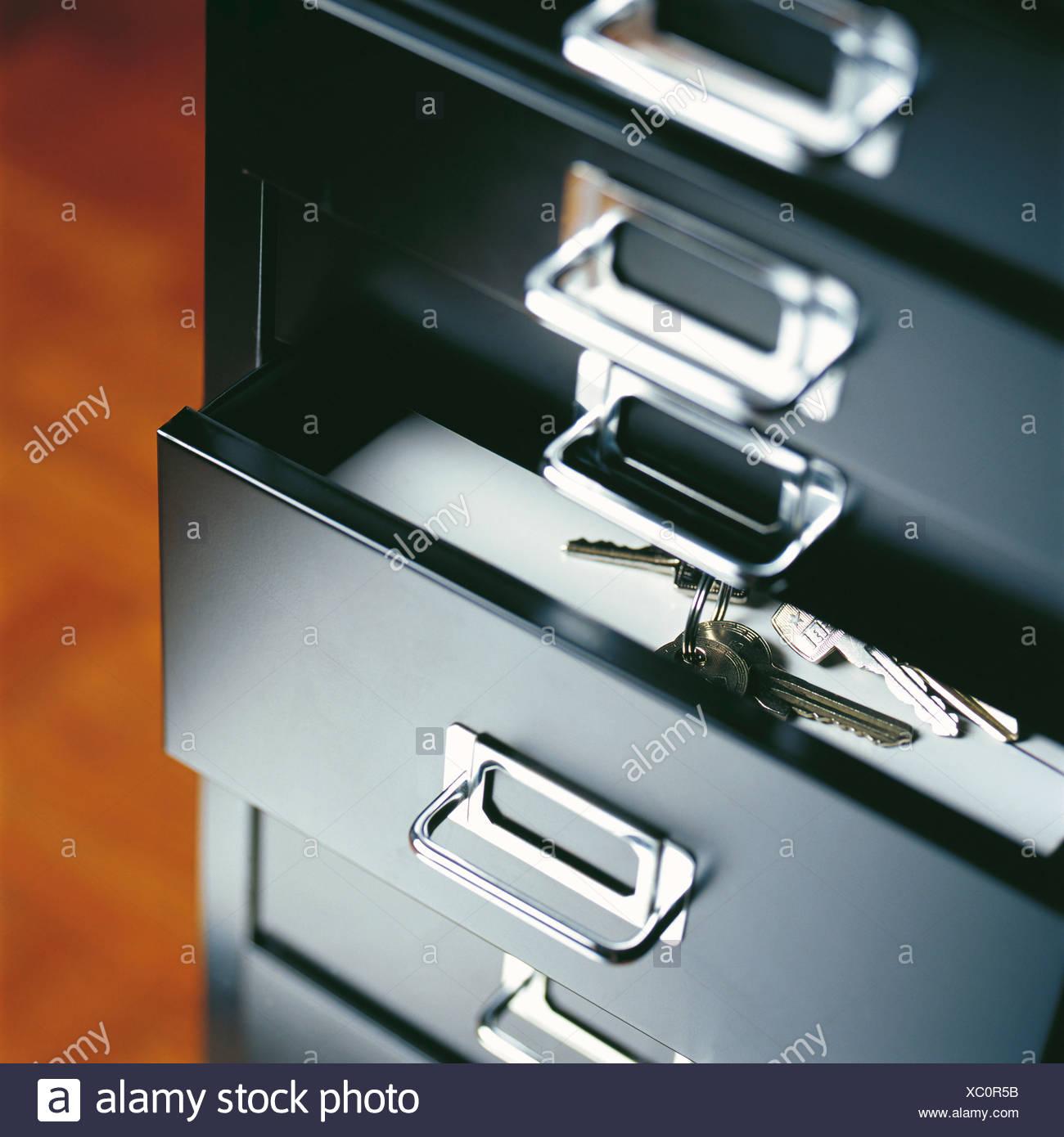 Trousseau de clés dans un tiroir Photo Stock