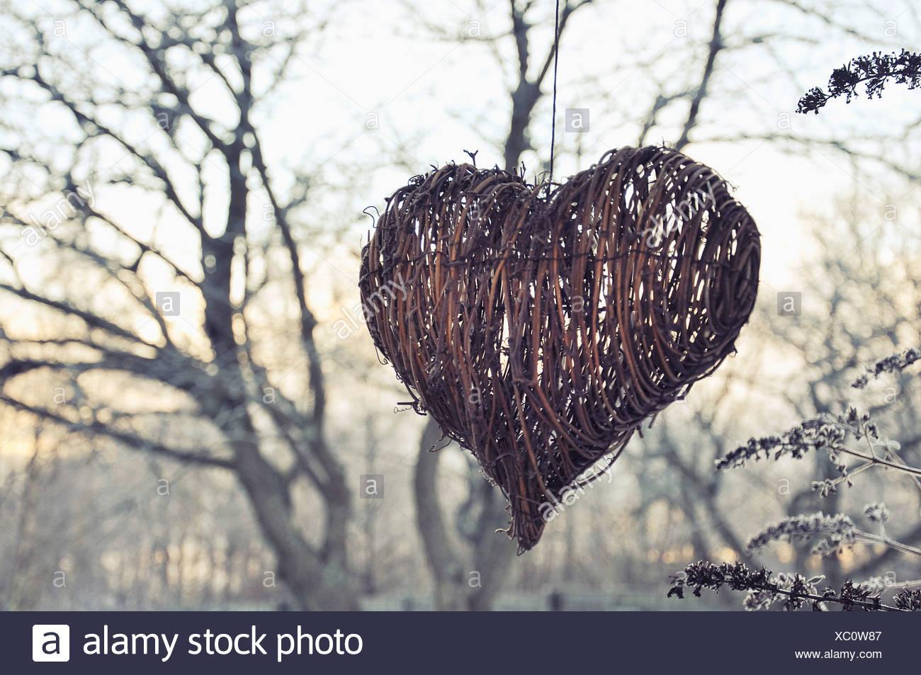 L'extérieur de décoration de Noël en forme de coeur Photo Stock
