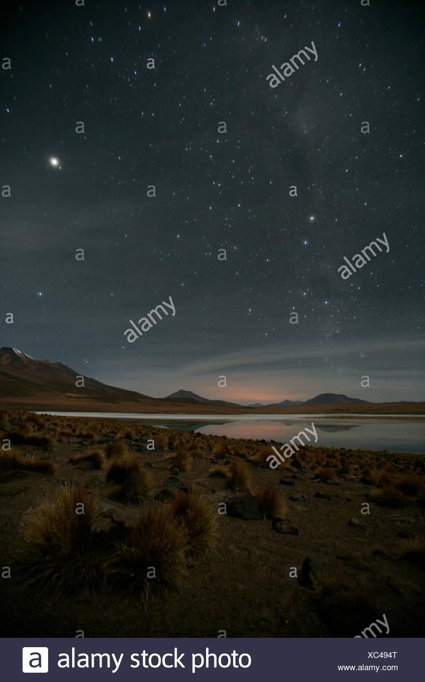 Étoiles brillent sur l'Altiplano, Bolivie Photo Stock