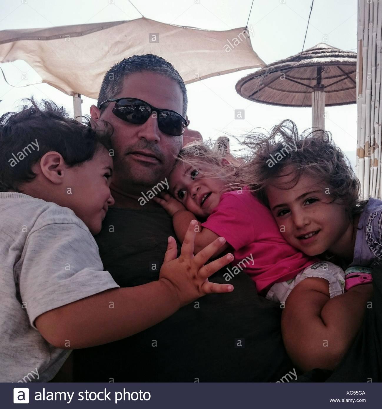 Père avec enfants Banque D'Images