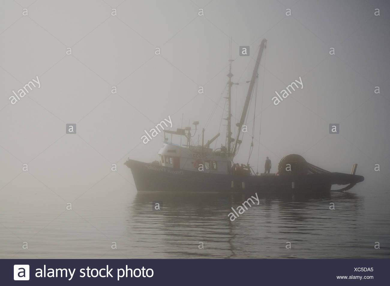 Bateau de pêche, le détroit de Johnstone, l'île de Vancouver, Colombie-Britannique, Canada. Photo Stock