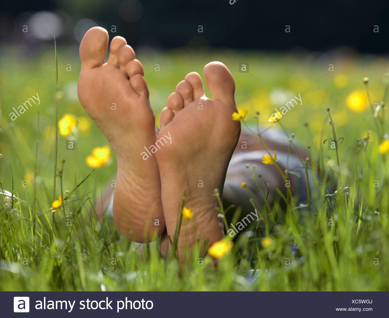La plante des pieds nus d'une personne, Close up Photo Stock