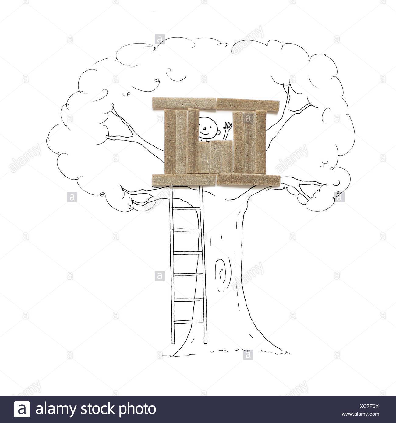 Garçon conceptuelle dans une cabane Photo Stock