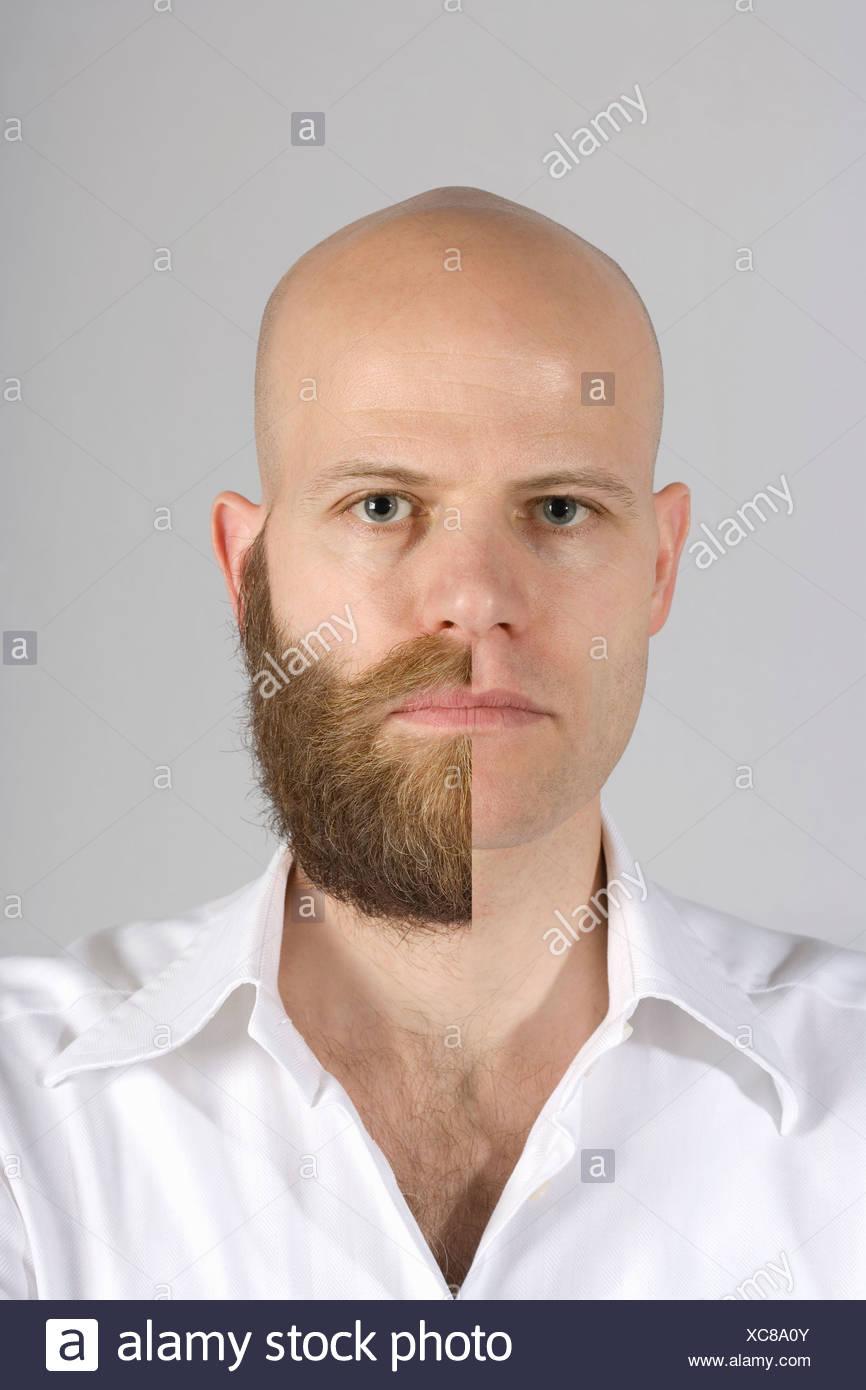 Un homme avec une barbe et moustache rasé la moitié Photo Stock