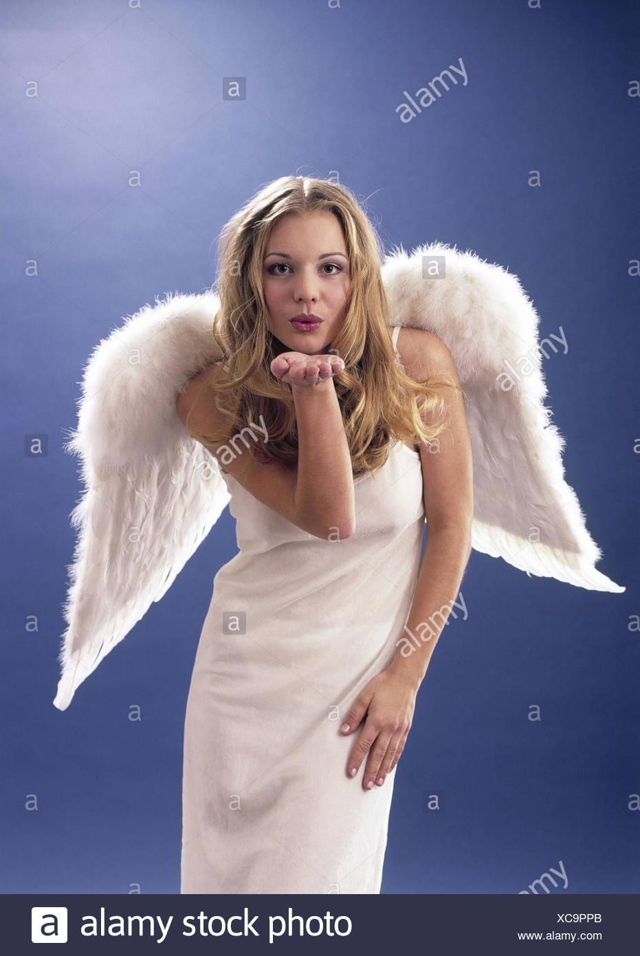 Femme, Engel, geste, baiser la main, Noël ange de Noël, jeune, blond, à  l aile, l aile de l ange, robe, doublure, costume, costume de l ange, blanc,  ... 5a750abca595
