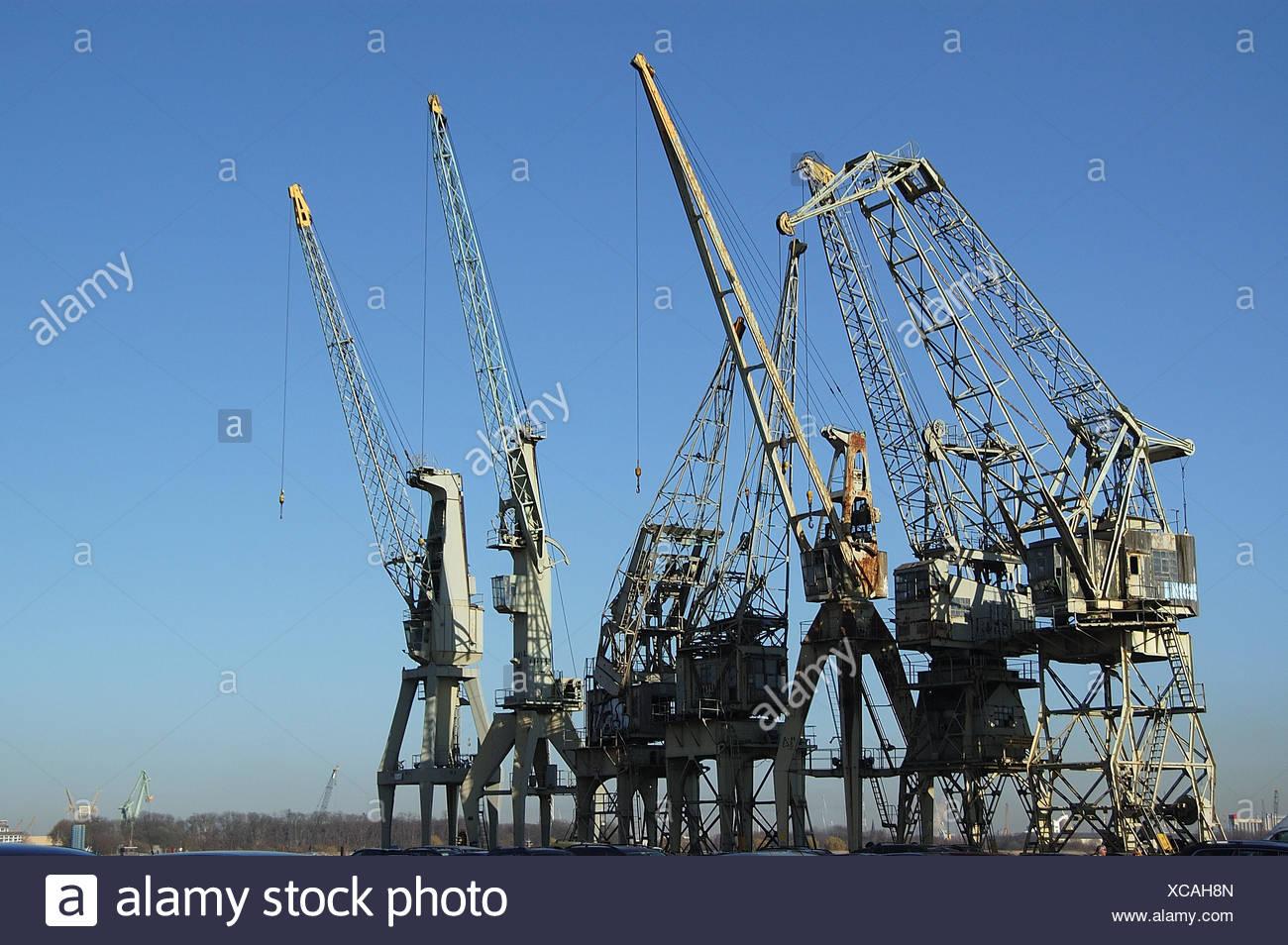 Industrial Plant Belgique Anvers crochet de grue grues industrie engineering engine Banque D'Images