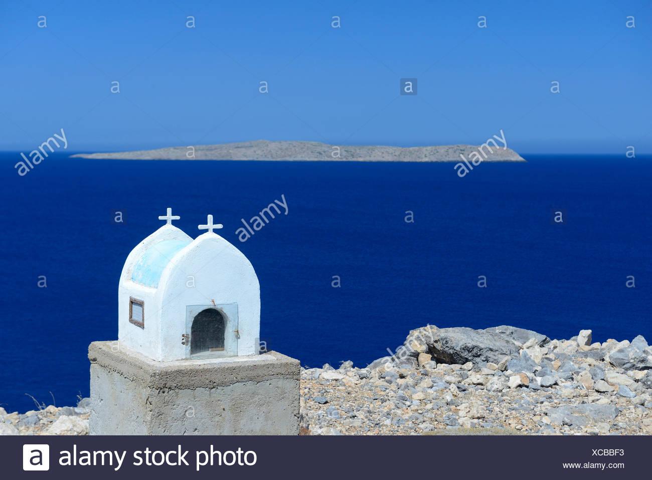 L'Europe, grèce, grec, la Crète, la Méditerranée, l'île, Itanos, Plage, église, religion, de la mer, blanc, Photo Stock