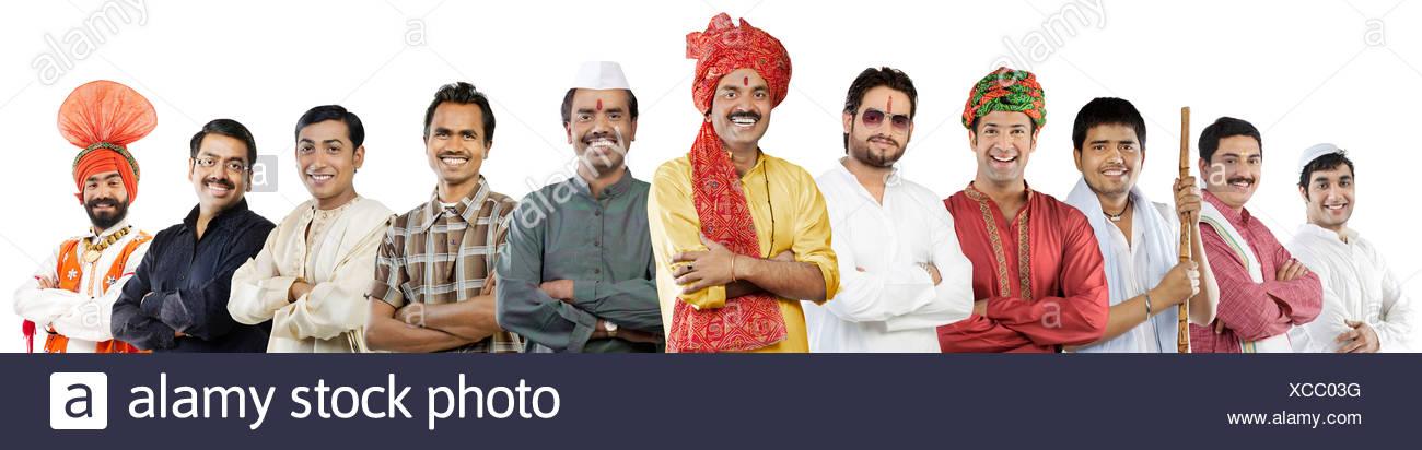 Les hommes de différentes cultures indiennes Photo Stock