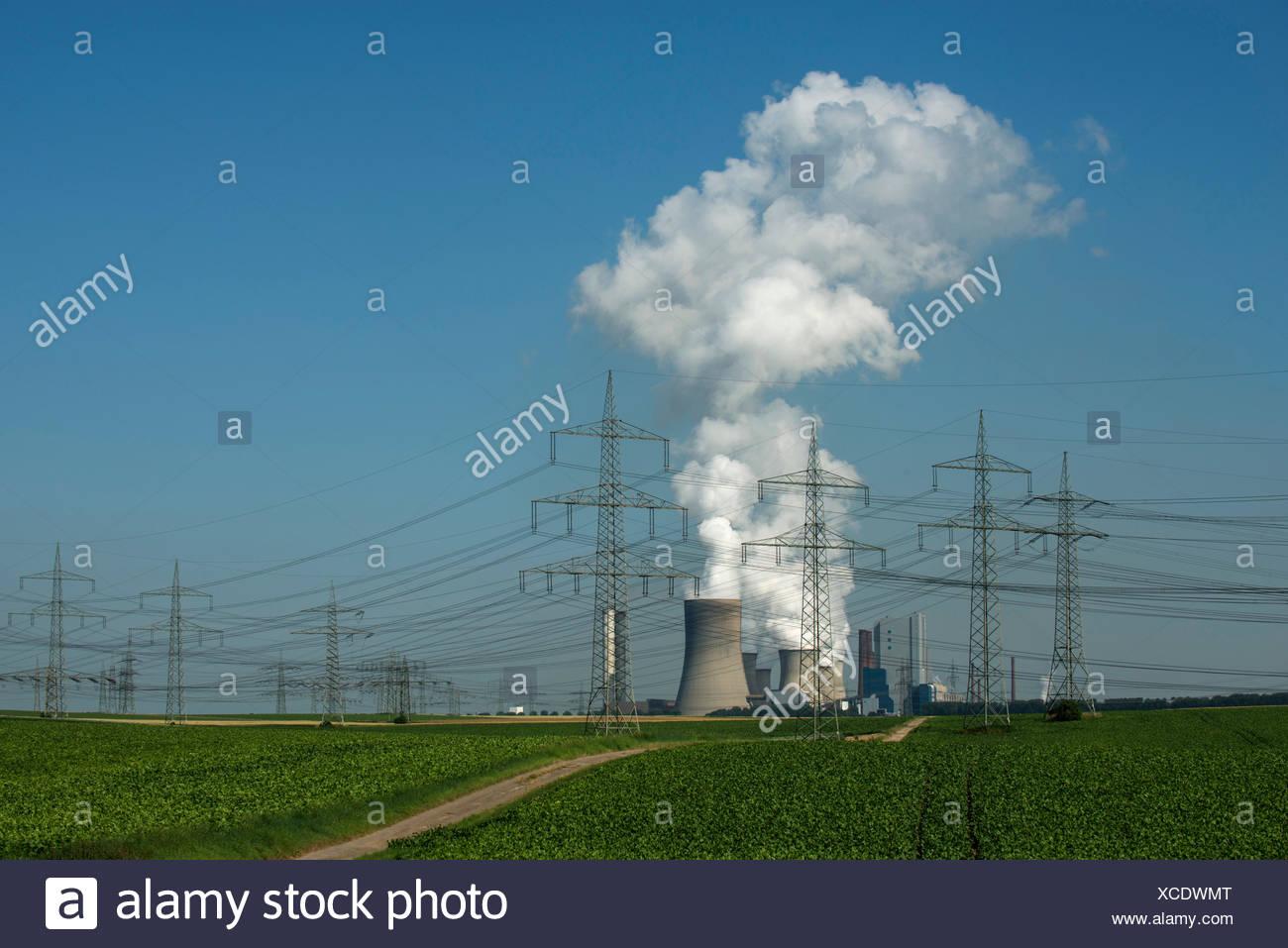 Éco-compatible, avec les terres arables à l'avant, les lignes électriques traversant le paysage, Bergheim-Niederaußem Photo Stock